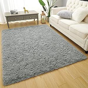 Amearea Premium Soft Fluffy Rug Modern Shag Carpet, High Pile, Solid Color Plush Rugs for Bedroom Dorm Room Teen Apartment Decor, Comfortable Indoor Furry Carpets, Grey 4x5.3 Feet