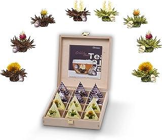 Creano Teelini Mix de flores de té en la porción de la taza; Set de regalo en caja de té de madera en porción de taza 12 ErblühTeelini en 8 variedades | Té blanco y té negro