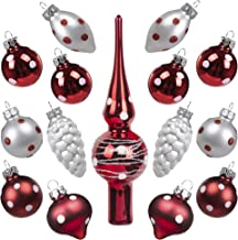 KINGYEE Miniature Ornaments and Tree Topper Christmas Mini Glass Tree Decorations Set of 15 for Tabletop Desktop Tree Wedding Centerpiece (Red and White Polka Dots)