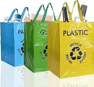 aoory Lot de 3 Sacs Réutilisables 53L de Recyclage avec Poignées Séparateurs de Déchets pour Tri Sélectif du Papier Plasti...