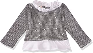 Giggles Patterned Pearl-Embellished Ruffled Trims Long Sleeves Blouse for Girls