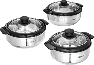 Amazon Brand - Solimo Stainless Steel Casserole with Glass Lid, Set of 3 (1900ml/1500ml/1000ml), Silver and Black