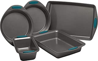 Nonstick (Bakeware Set) with Grips Includes Nonstick Baking Pans, Baking Sheet and Nonstick Bread Pan - (5 Piece), (Gray w...