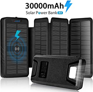 $54 » Solar Charger 30000mAh Solar Power Bank with Dual 3.1A Outputs Wireless Charger Waterproof Ultra Bright LED Panel Light and Flashlights Compatible Most Smart Phones Tablets and More