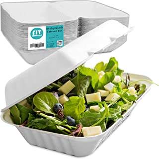 """[50 Pack] 9x6x3"""" Clamshell Food Containers with 1 Compartment - Compostable Take Out Box, 100% Biodegradable Sugarcane, Styrofoam and Plastic Alternative, Microwave Safe, to Go Lunch and Meals"""