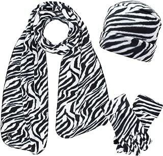 Animal Print Fleece Hat Scarf & Matching Glove Set