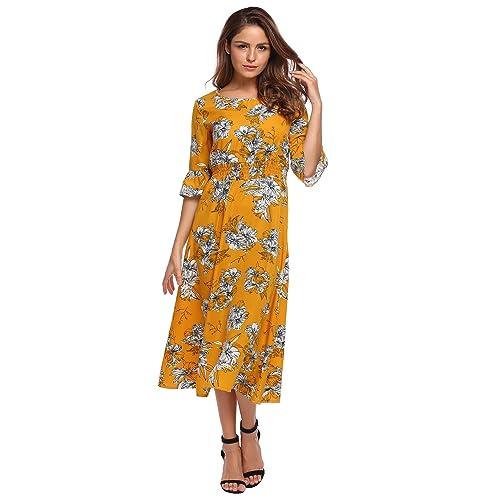 a8299689d11 OD lover Women s Floor Length Floral Print Bohemian Beach Fall Chiffon Maxi  Dress