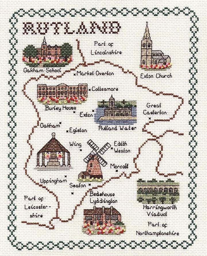 Classic Embroidery Rutland 14 Count aida Cross Stitch map, Mixed Multi-Colour, 20 x 25 x 1 cm