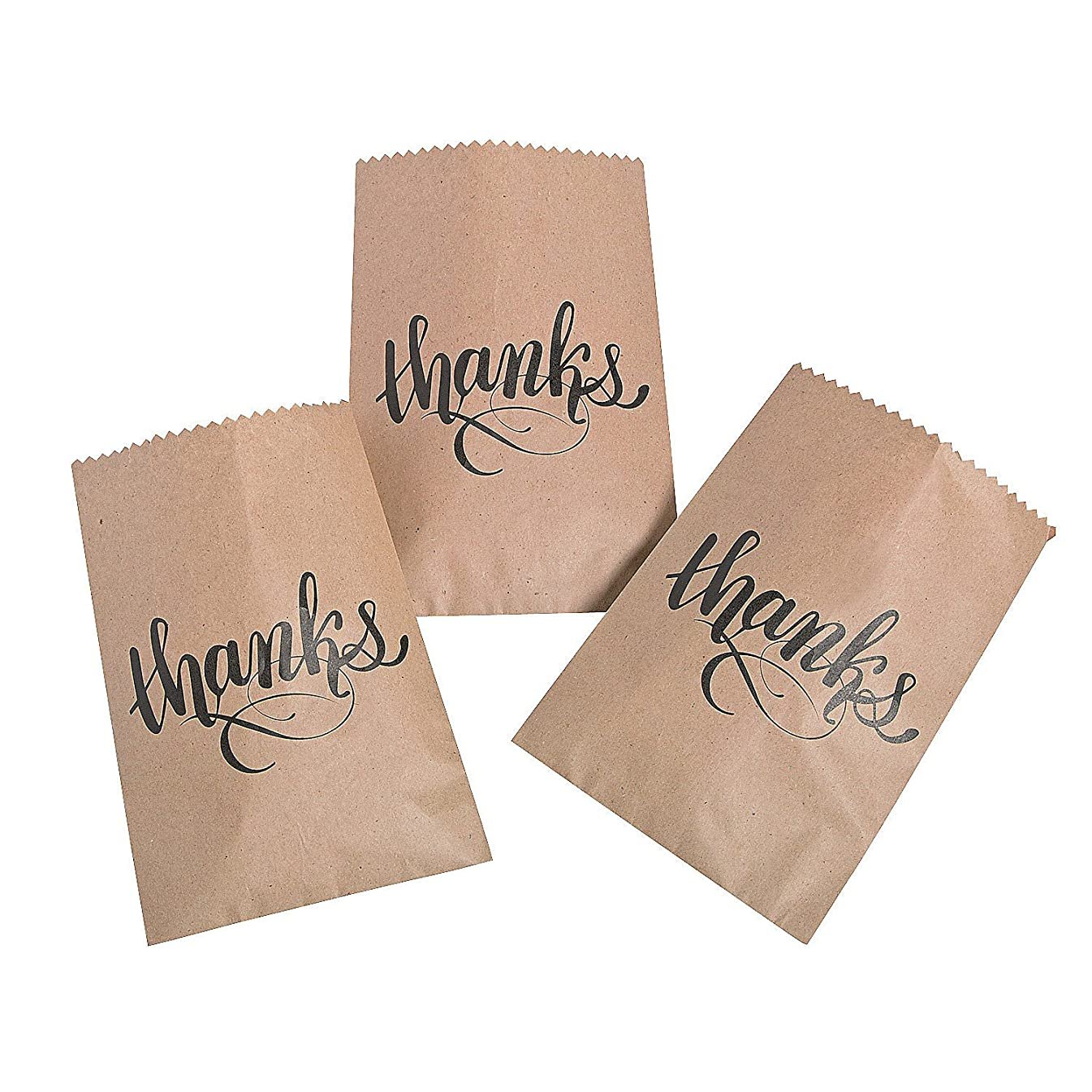 Fun Express - Thanks Kraft Paper Cake Bags (50pc) for Wedding - Party Supplies - Bags - Paper Treat Bags - Wedding - 50 Pieces