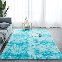 Modern Style Soft Furry Rugs Multi-Colored Tie-Dye Pads Fluffy Bedroom Carpet Non-Slip Indoor Plush Decorative Carpets, Su...