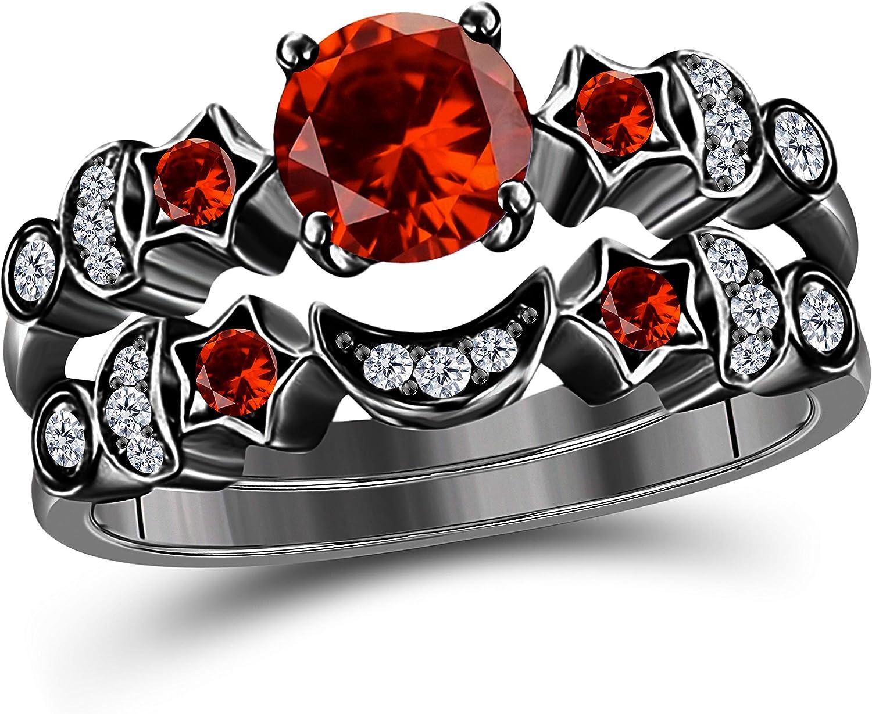 DS Jewels Moon Star Style Wedding Band Bridal Set 1.75 tcw CZ Garnet & Cubic Zirconia Round Engagement Ring Set Size 4 to 11