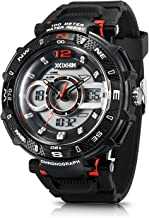 IXHIM Men's Sport Watch Chronograph #A2801 Multifunctional, Dual Digital & Analog Time Display Casual Outdoor Watch - Racing Design - 100m 330 ft Water Resistant - Black PU Band