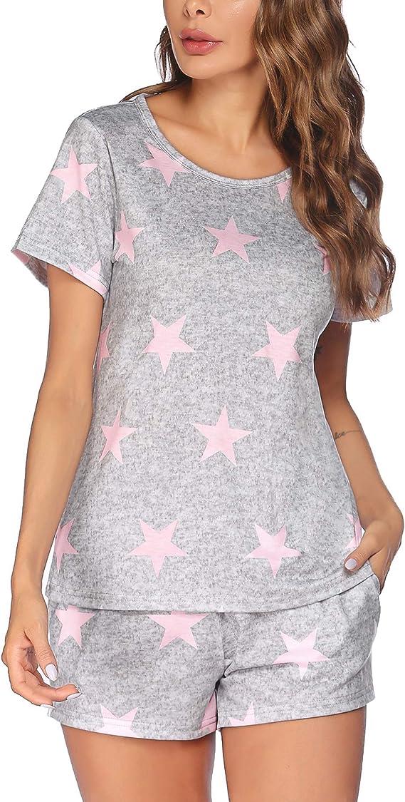 Ekouaer Womens Pajama Set Short Sleeve Sleepwear Star Print Nightwear Soft Pjs Lounge Sets with Pockets
