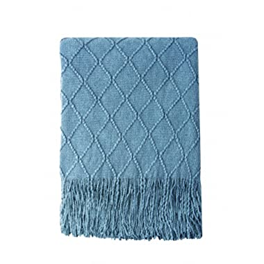Bourina Knitted Throw Blanket Soft Sofa Throw Couch Blanket, 50 x60 , Blue