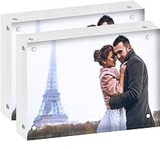 DEKIRU Acrylic Picture Frames - 5x7 (2 Packs) - 24mm Thick, 20% Thicker • Magnetic Photo Frames • Frameless Desktop Picture Frame • Floating Acrylic Frames • Grade AAA Clear Acrylic Block Frame