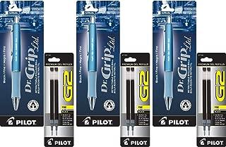 Pilot Dr. Grip Limited Retractable Rolling Ball Gel Pen, Fine Point, Ice Blue Metallic Barrel, Black Ink 3 Pen (36271) with 6 Black Ink Refill