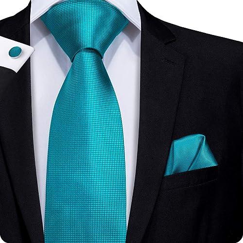 6f4c0c8cec73 Hi-Tie Classic Mens Blue Tie Necktie Pocket Square Cufflinks Gift Box Set