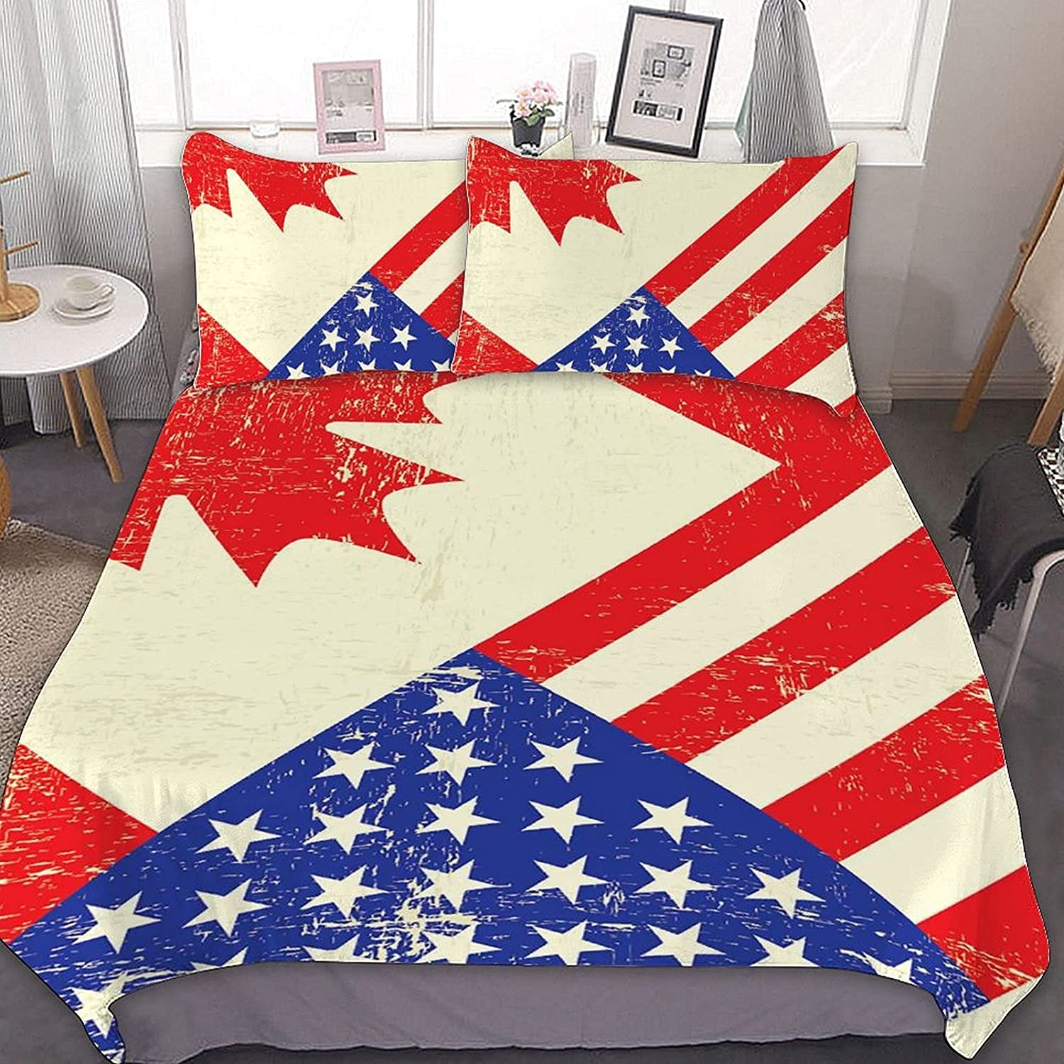 PNNUO Canada USA Flag Queen Bed King New York Mall 5 ☆ very popular Set Comforte Full Size Twin