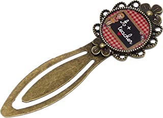 Segnalibri libro resina A + insegnante ardesia cuore piastrelle gingham rosso rosso rosso nero bianco regali personalizzat...