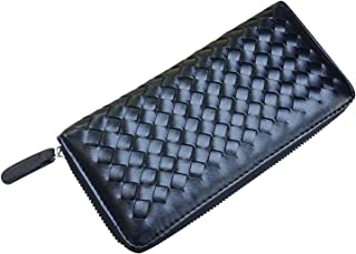 AM Landen Braided Synthetic Leather Zip Around Long Wallets Organizer (Black)