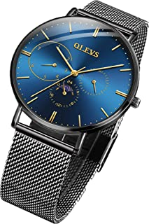 Minimalist Inexpensive Ultra Thin Fashion Big Face Watches for Men Business Casual Simple Slim Quartz Wrist Watch Waterproof 3ATM with Mesh Milanese Band Blue Dial