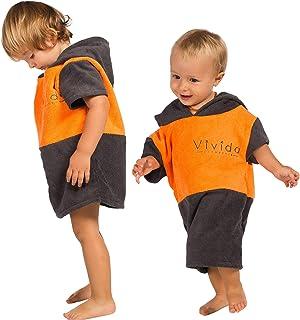 Poncho con capucha para bebé con tejido absorbente de secado rápido y etiqueta de personalización para playa, baño, surf y natación