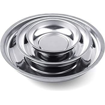 """HORUSDY 3-Piece Magnet Trays Set, 3"""" 4"""" 6"""", Round Magnetic Trays Tools Parts Tray Holder"""