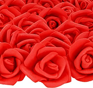Bright Creations 200-Pack 1-Inch Red Rose Flower Heads for DIY Crafts, Weddings, Decor