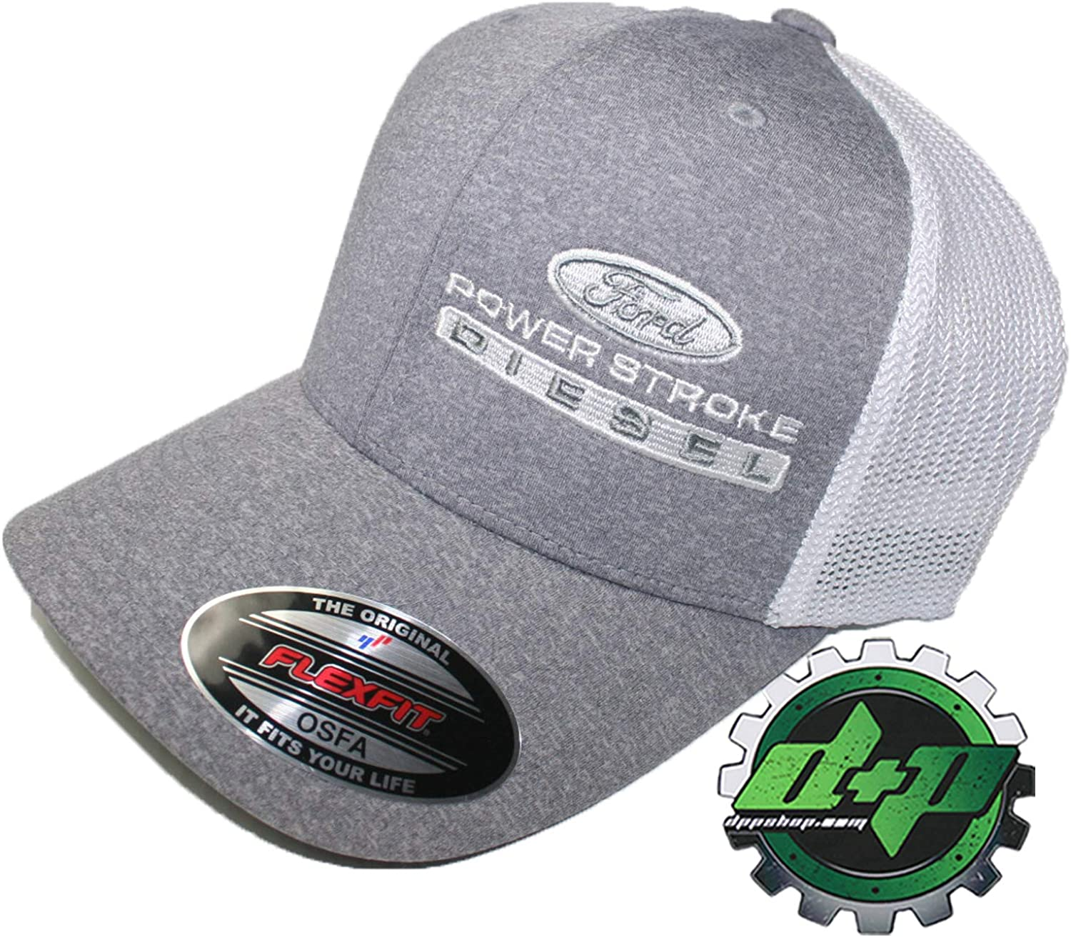 Diesel Power Plus Ford Powerstroke Hat Ball Cap Fitted Flex Fit Flexfit Stretch OSFA White