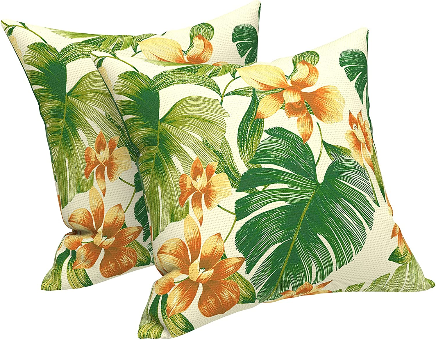 """LVTXIII Outdoor/Indoor Throw Pillows, Decorative Throw Pillows with Inserts, 18""""x18"""" Square Pillows for Bed, Couch, Sofa and Patio Furniture (Set of 2, Banana Leaf)"""