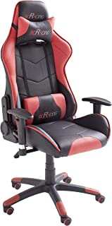 Robas Lund MC Racing 5 Silla de Gaming/Oficina/Escritorio con Asiento Deportivo, Poliéster, Negro y Rojo, 58x69x125 cm
