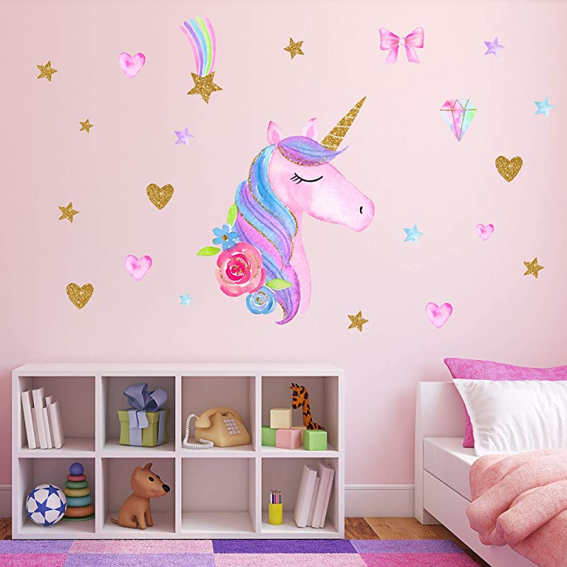 Unicorn Wall Decals Unicorn Wall Sticker Decor With Heart Flower Birthday Christmas Gifts For Boys Girls Kids Bedroom Decor Nursery Room Home Decor Unicorn A