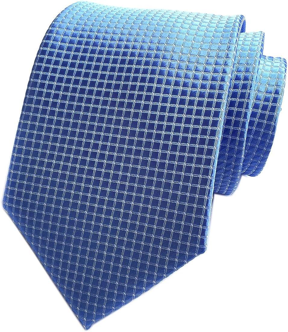 Elfeves Men's Small Checks Polka Dot Ties Jacquard Woven Formal Dress Necktie