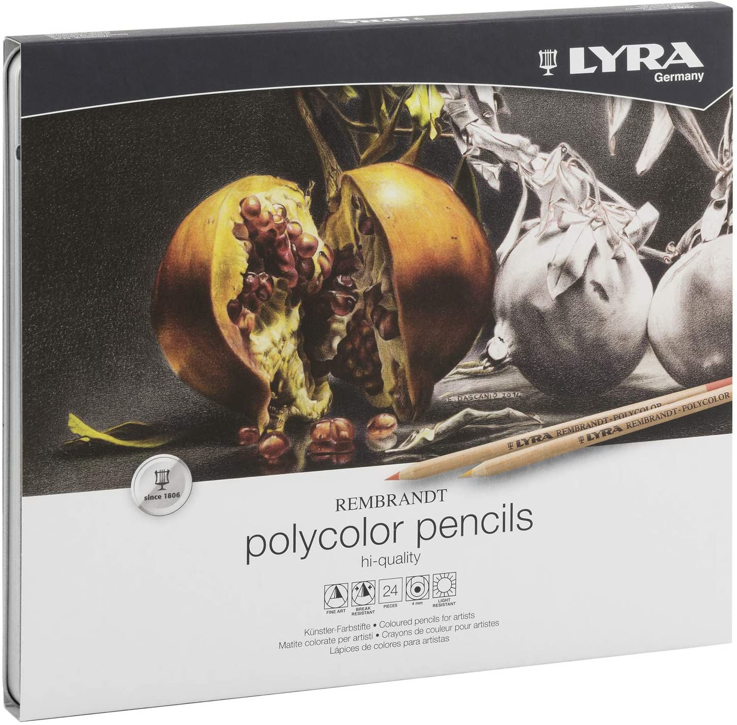 Lyra Rembrandt Polycolor Colored Pencils, Set of 24, Assorted Colors (2001240)
