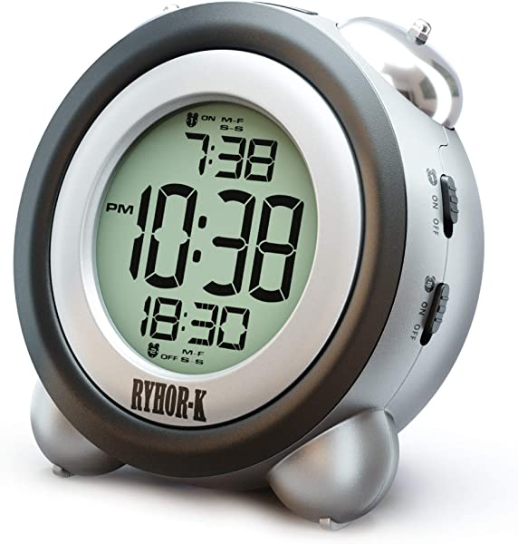RYHOR K Loud Alarm Clock For Heavy Sleepers Simple Digital Clock Battery Operated For Hearing Impaired Easy To Set Electronic Twin Bell Snooze Portable LCD Clock For Kids