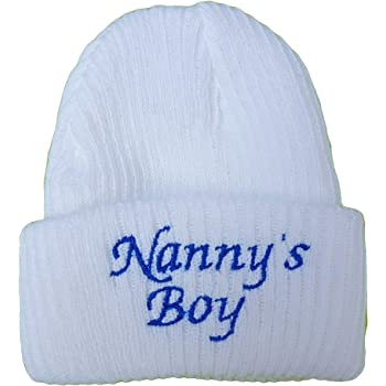Baby Boys Girls Newborn hat I Love Mummy Daddy Nannys boy Girl Nannys Boy, White