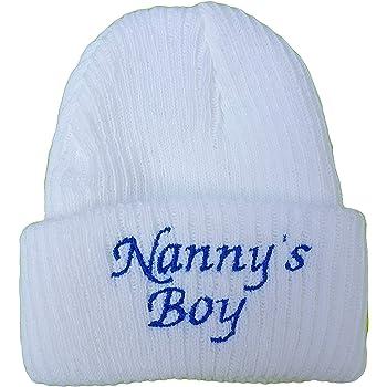 Baby Boys Girls Newborn hat I Love Mummy Daddy Nannys boy Girl Nannys Boy, White