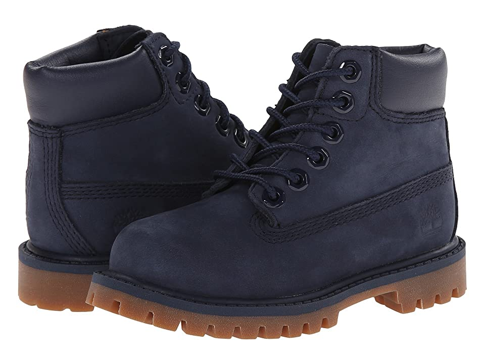 Timberland Kids 6 Premium Waterproof Boot Core (Toddler/Little Kid) (Navy Nubuck) Boys Shoes