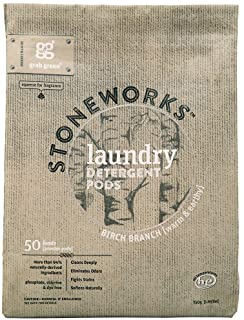 Grab Green Stoneworks Laundry Detergent Pods, Powered by Naturally-Derived Plant & Mineral-Based Powder Pods, Birch Branch...