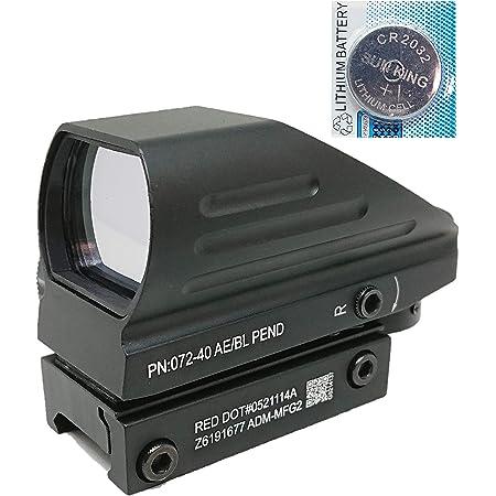 [AERITH BLACK] リフレックス 4レティクル グリーン レッド 無段階調光 電池付 オープン ドットサイト ダットサイト 103 (BK B)