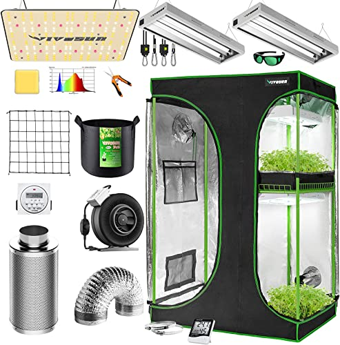 """2021 VIVOSUN Grow Tent Kit Complete, 2-in-1 48""""x36""""x72"""" Grow Tent Complete online System with VS1000 discount Led Grow Light, 4 Inch 203 CFM Inline Fan, Carbon Filter, 8ft Ducting Combo and 2FT T5 Grow Light Fixture outlet sale"""