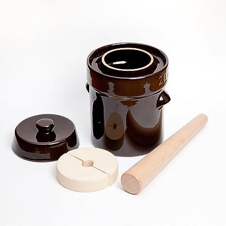 Kenley Fermentation Crock Jar 2 Liter - Stoneware Pot for Fermenting or Pickling