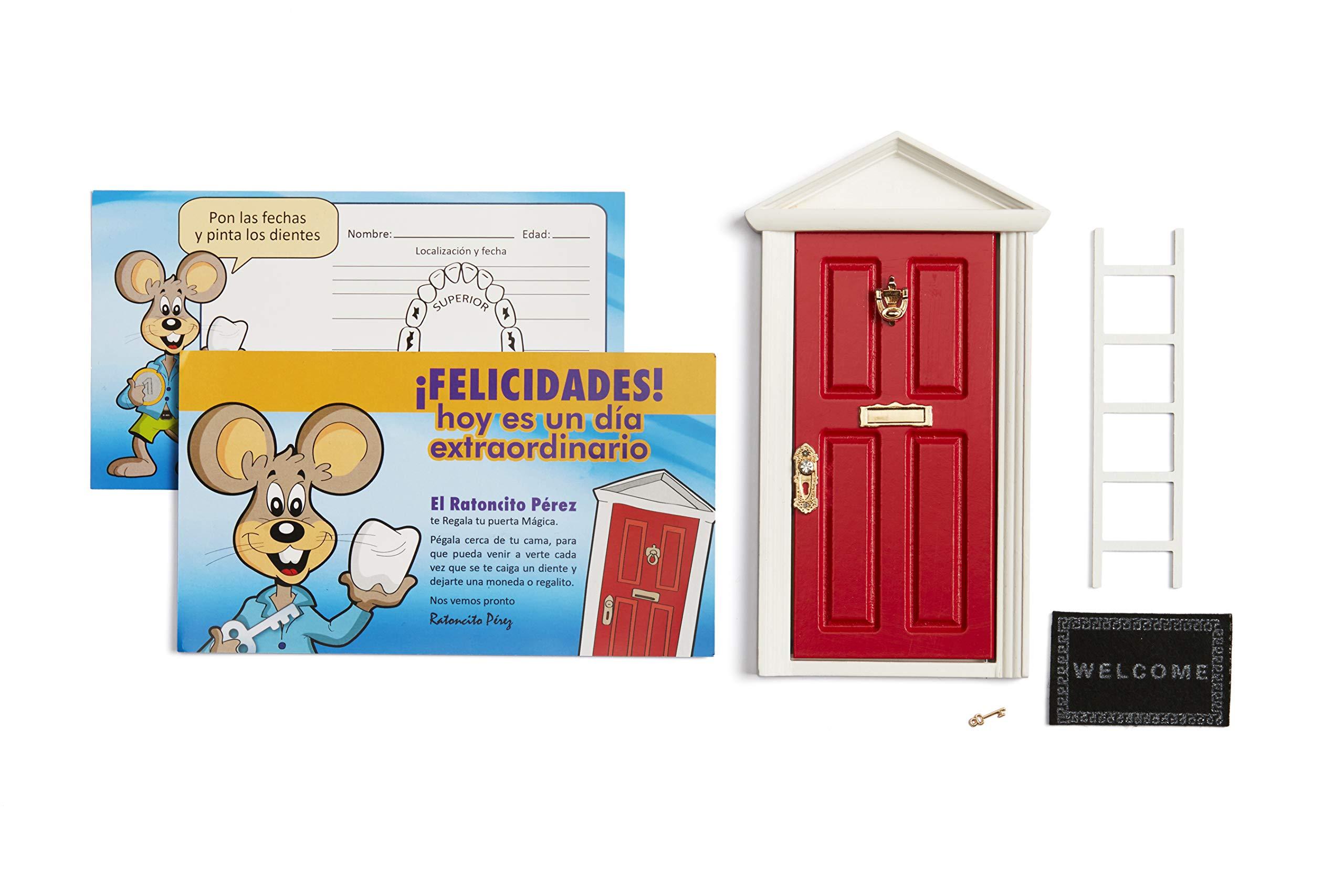 🐭 Ratoncito Pérez: Puerta Mágica Roja + Escalera + Felpudo + Llave + Postal de Felicitación + dibujo para anotar y pintar las fechas de los dientes caídos: Amazon.es: Juguetes y juegos