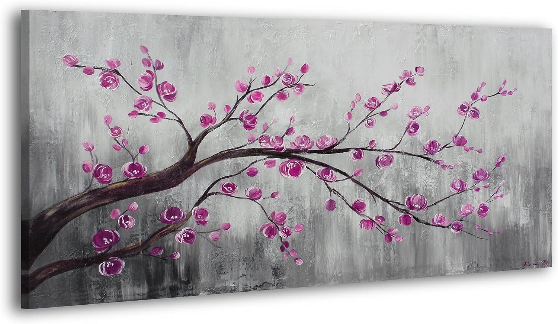 YS-Art Acryl Acryl Acryl Gemälde Blütezeit 2   Handgemalt   130x70cm   Wand Bild   Moderne Kunst   Leinwand   Unikat   Grau B06XH7VVYX e81058