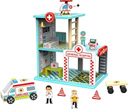 TOYSTER'S My Big Hospital Station Wooden Emergency Vehicle Playset   Toddler Toy House Dollhouse for Boys and Girls   Kids...