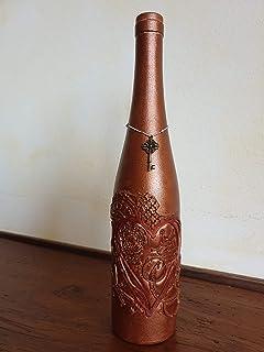 Bottiglia Decorativa con rilievo Cuore, Bronzo, con nastro e chiave, Idea Regalo San Valentino, anniversario, matrimonio