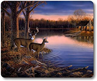 Smooffly Deer Gaming Mouse pad,Deers At The Ege Of The River Non-slip