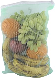 Indian Crafts Idea New Style Washable Fridge Storage Bags for Vegetables and Fruits Mesh Net Fabric with Zip Lock (Multicolor), Multipurpose vegetable /fruit net bag/produce bag, storage bags for fridge/refrigerator, Bags for grocery, Kitchen storage & organization - Set of 3 (Size 7 Inch x 12 Inch)3 (Size 7 Inch x 12 Inch)