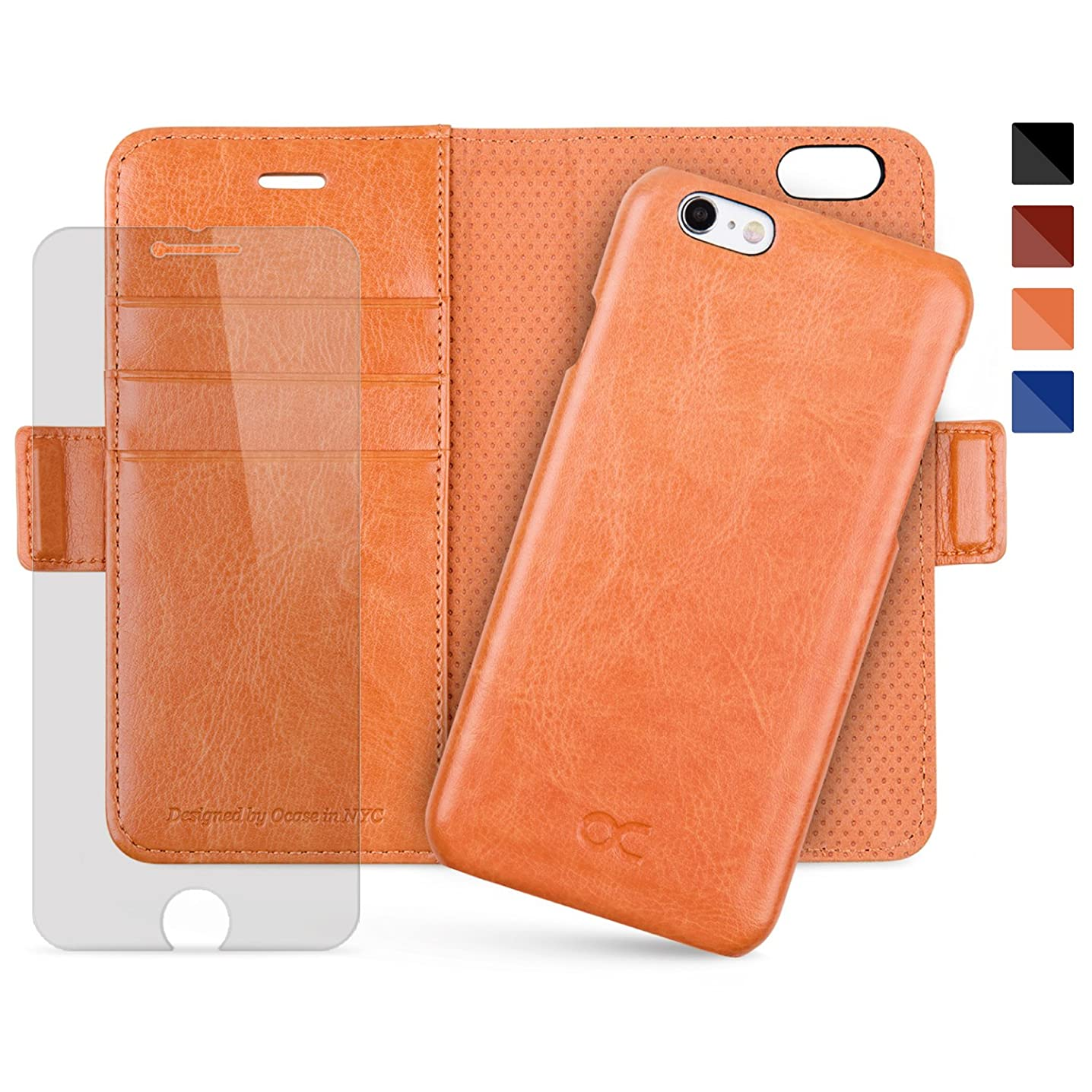 OCASE iPhone 6 Case iPhone 6S Case [Magnetic Detachable Case] Wallet Leather Case [Screen Protector Included] [Upgraded Version] for Apple iPhone 6 / 6S Devices (Blazing Orange)