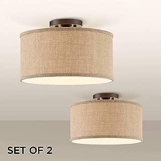 Adams Burlap Drum Shade Ceiling Lights Set of 2-360 Lighting